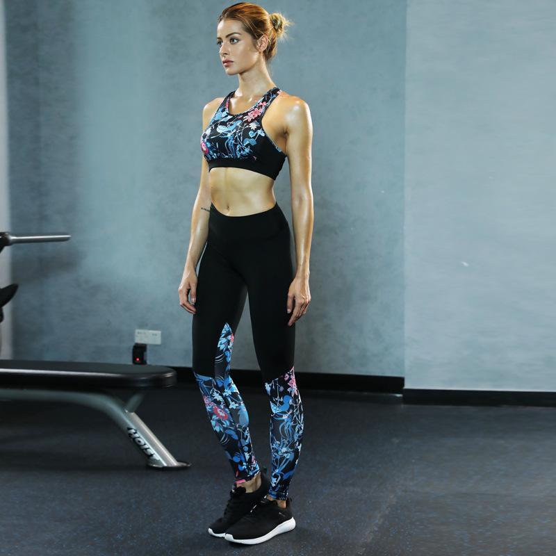 1ff6927ffa Print Sport Wear Yoga Set Pad Bra Crop Top Leggings Fitness Clothing ...