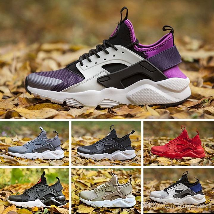hot sale online e2ced 398b1 Acheter 2018, Nike Air Huarache 4 Sneakers Les Dernières Chaussures De Mode  Pour Hommes Et Femmes, Chaussures De Marche En Plein Air En Noir Et Blanc  Pour ...