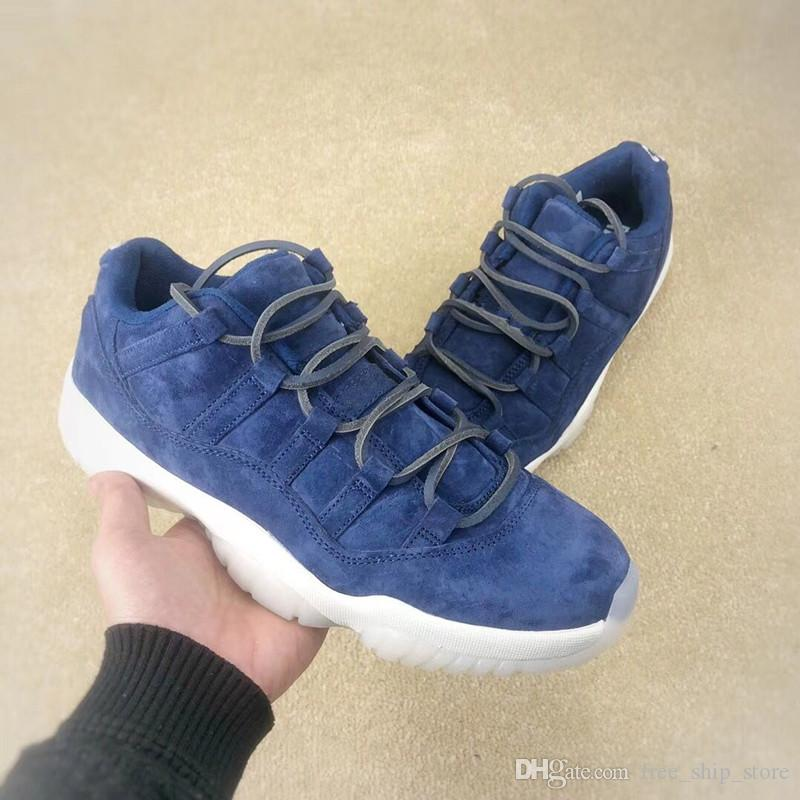 finest selection df8bb 13925 New 11 XI jeter RE2PECT low blue suede Men Basketball Shoes Sports Sneakers  fashion outdoor trainers with box size 8-13