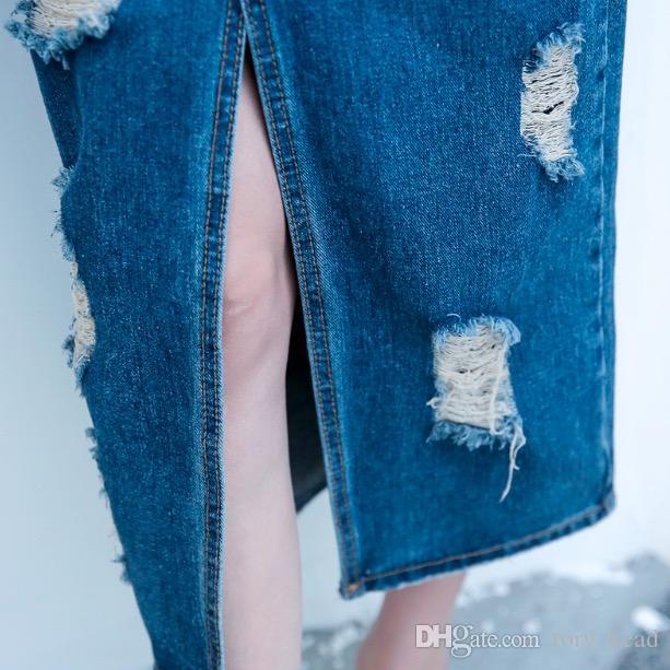 2018 mujeres de la moda del verano del resorte de la manera falda larga del dril de algodón ocasionales más el tamaño de las faldas maxi jeans de la vendimia dobladillo faldas lápiz