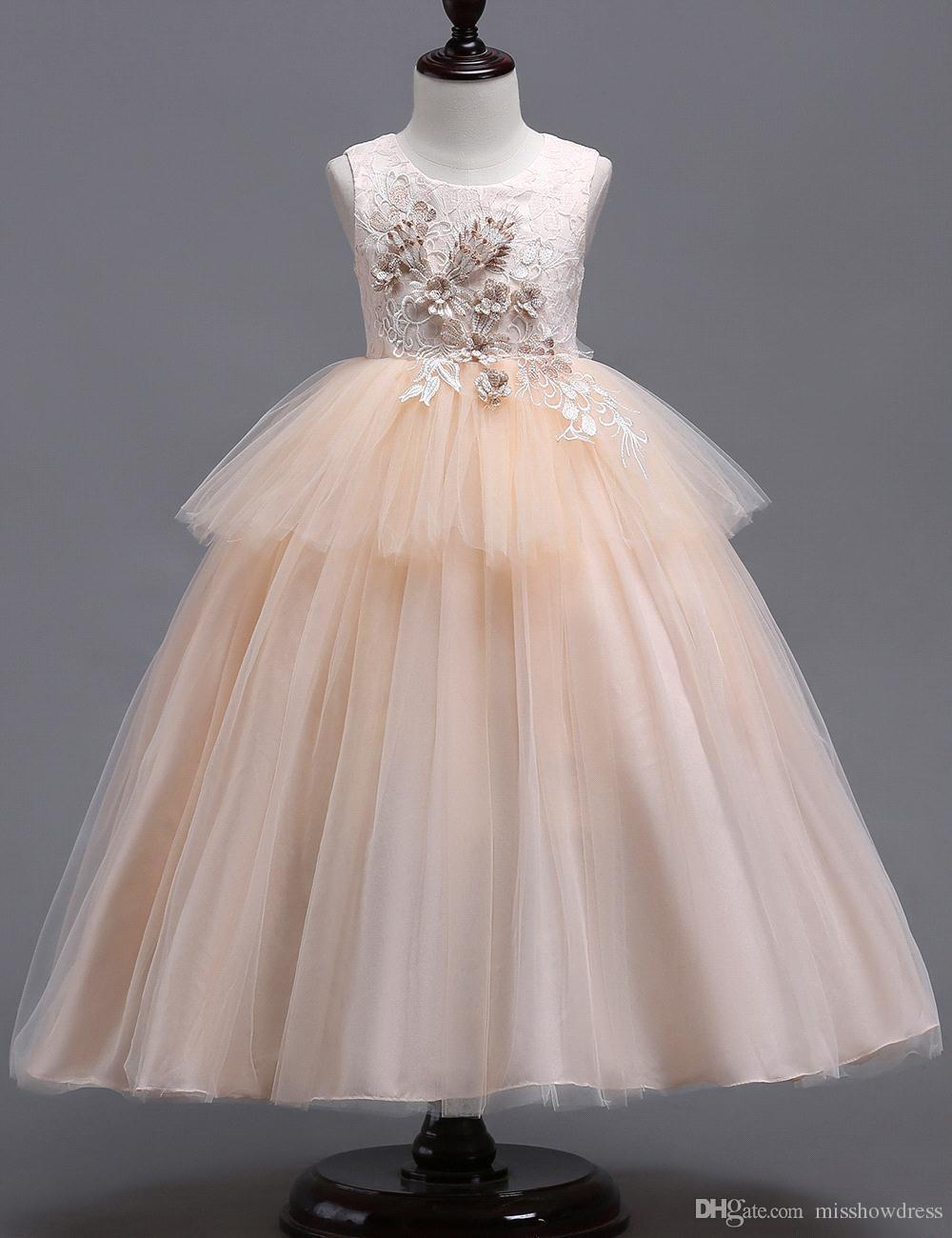 Lace Little Kids Flower Girl Dresses Princess Bateau Neck Tulle 3d Floral Layered Girls' Pageant Short Formal Wears for Wedding MC1625