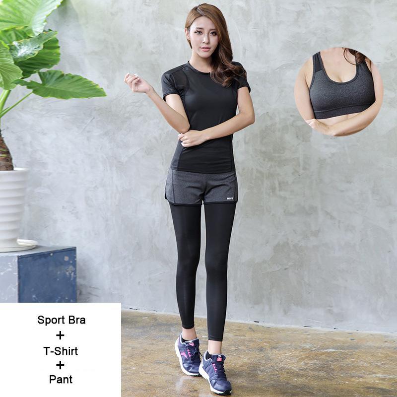 Compre Verano Deporte Yoga Fitness Entrenamiento Ropa Mostrar Mujeres  Delgadas Traje Falso De Dos Piezas Gimnasio Correr Conjunto De Tres Piezas  A  58.93 ... c1d23451f7a8