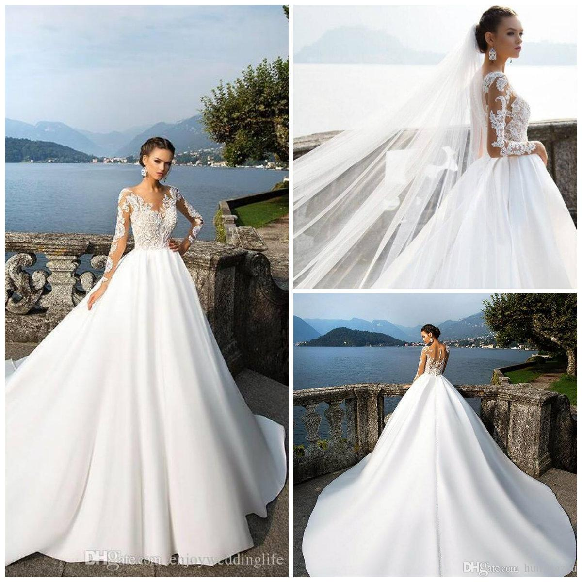 bd82885ca78 Discount 2018 Garden Wedding Dresses Long Sleeve Lace Applique Sweep Train  Bridal Gowns Custom Made Satin Wedding Dress Lace Wedding Gown Mermaid  Wedding ...