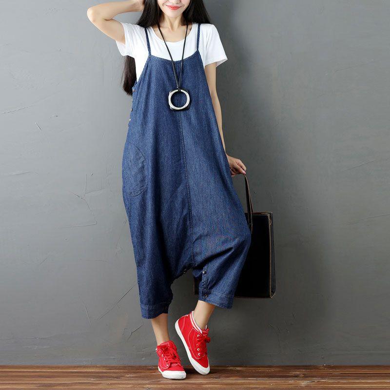 6ebe6ea29959 2019 Loose Casual Romper Plus Size Denim Jumpsuit Women Body Suspenders  Trousers Big Size Blue Summer Overalls Female Bib Salopette From Qingxin13