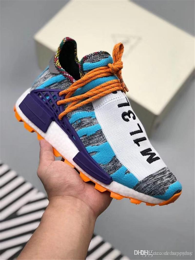 3a9beebc1 2019 2018 Hottest Pharrell Williams X Originals Hu Trial Solar Pack M1L3L3  Human Race Men Women Running Shoes Authentic Sneakers With Box BB9528 From  ...