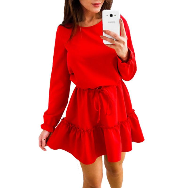 0d4ceb973f17 Ruffle Women Mini Dress Tunic O Neck Long Sleeve Loose Casual Basic Dresses  For Woman WS4560Z Little Black Dresses One Shoulder Dress From Fafachai03