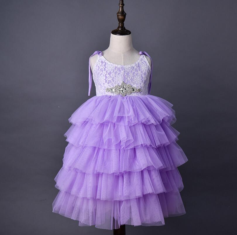 Vestido de princesa de encaje de las muchachas 2018 niños del verano del rhinestones de la correa del cordón tiere tul tutú vestidos niños vestido de fiesta largo A00380