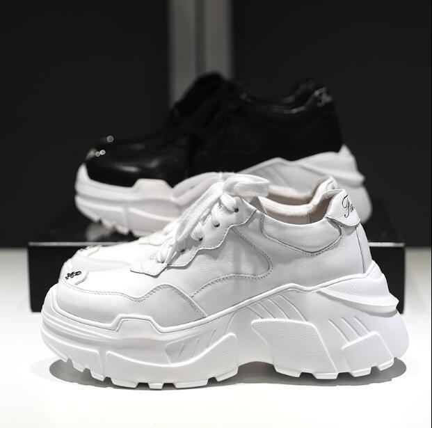 cheap for discount 8048c 7b209 Scarpe da ginnastica da donna di alta qualità scarpe sportive scarpe da  passeggio in pelle fondo spesso 2018 autunno nuovi sport suola spessa W69