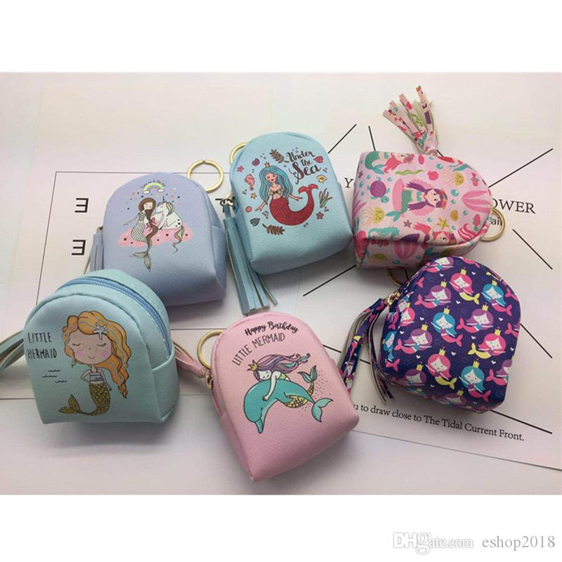 1f994f358f Cute Great Little Gifts Lovely Mermaid Bag Coin Purse Practical Tassel  Printing Change Coin Bags Data Line Storage Package Children Handbags  Handbag For ...