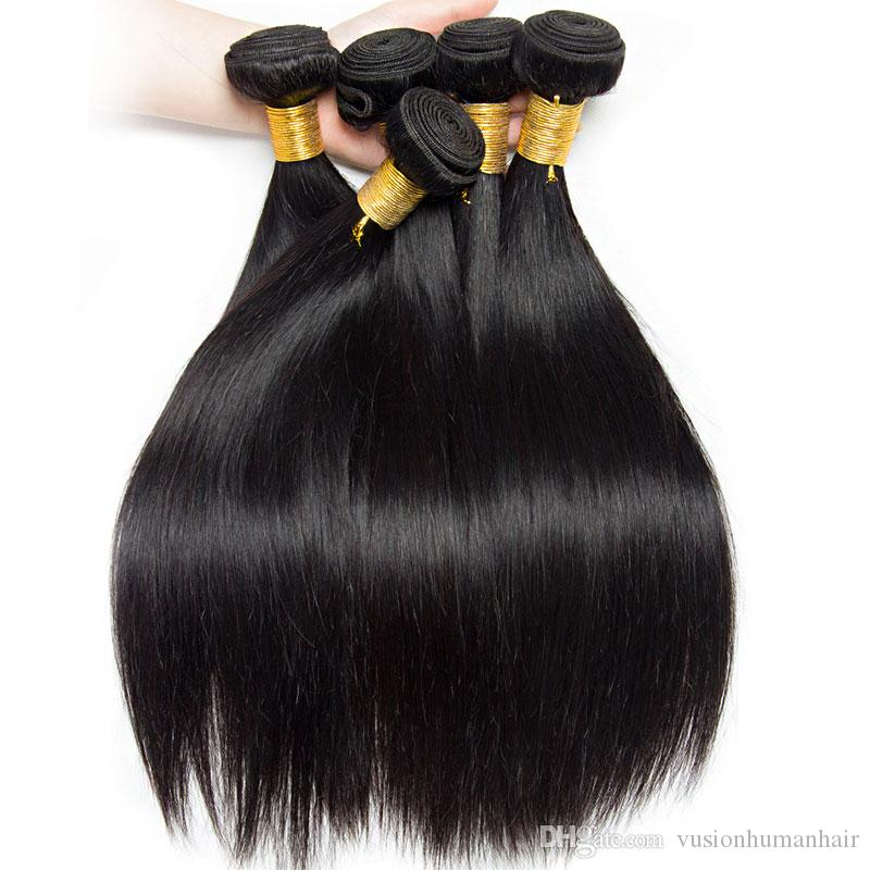 4 Bundles Straight Hair Weaves Brazilian Human Virgin Hair Extensions Kinky Straight Best Quality Unprocessed Brazilian Straight Hair