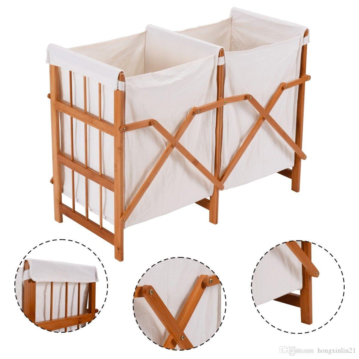 2018 Household Folding Bamboo Frame Laundry Hamper Clothes Storage ...