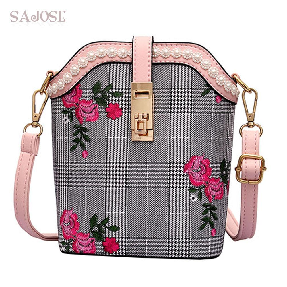 8b98807edcb6 Crossbody Bags For Women Fashion Leather Shoulder Bag Vintage Famous Brand  Houndstooth Embroidery Small Pearl Messenger Bags Totes Bags Leather Totes  From ...