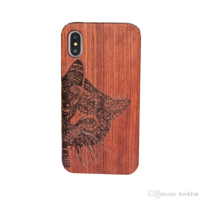 Cas en bois pour Iphone X 8 Couverture rigide Sculpture En Bois Téléphone Coquille Pour Apple Iphone 7 Plus En Bambou Logement De Luxe S9 Rétro Protecteur