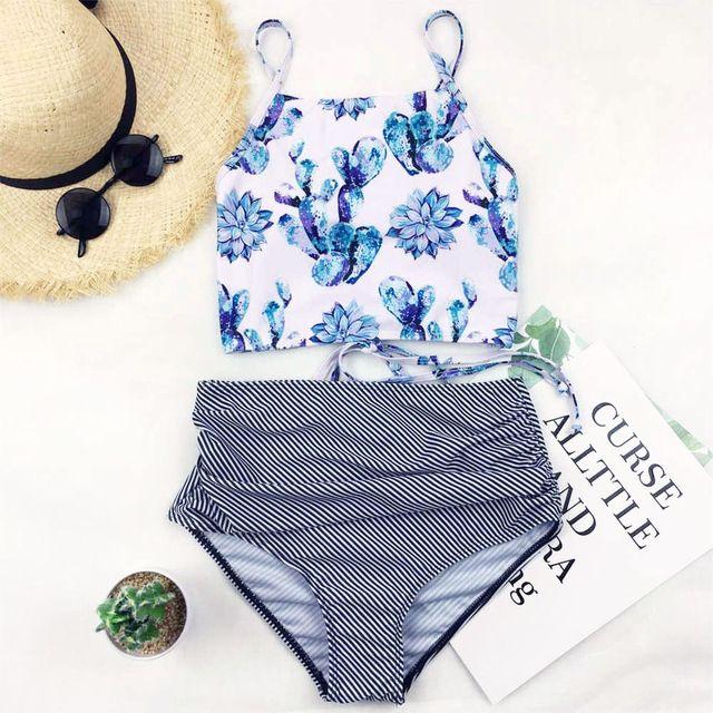 1e790427b6001 2019 Stripe Bikini Women Floral Print Swimwear Push Up Swimsuit High Waist  Bikinis High Neck Biquini Crop Top Bathing Suit Beachwear From  Dongguan_wholesale ...
