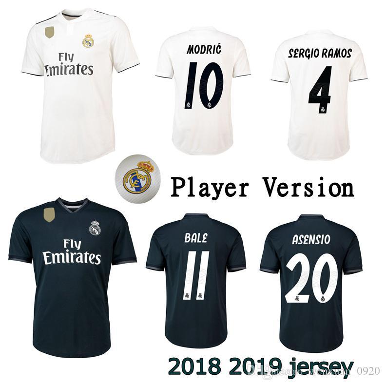 Versión De Jugador 2018 2019 Camisetas Del Real Madrid De Primera Calidad  Fuera De Casa ISCO ROMOS MODRIC BALE Camisetas De Fútbol Arsenio Tamaño S  3XL Por ... 09b87935243fc