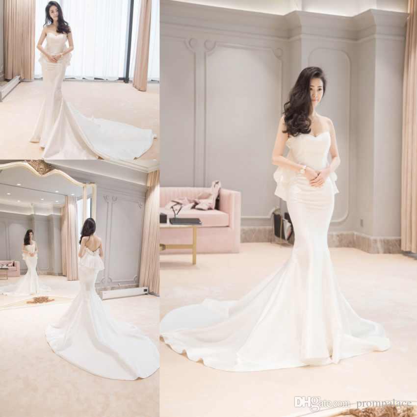 Simple White Wedding Dresses Elegant Sweetheart Sleeveless Mermaid
