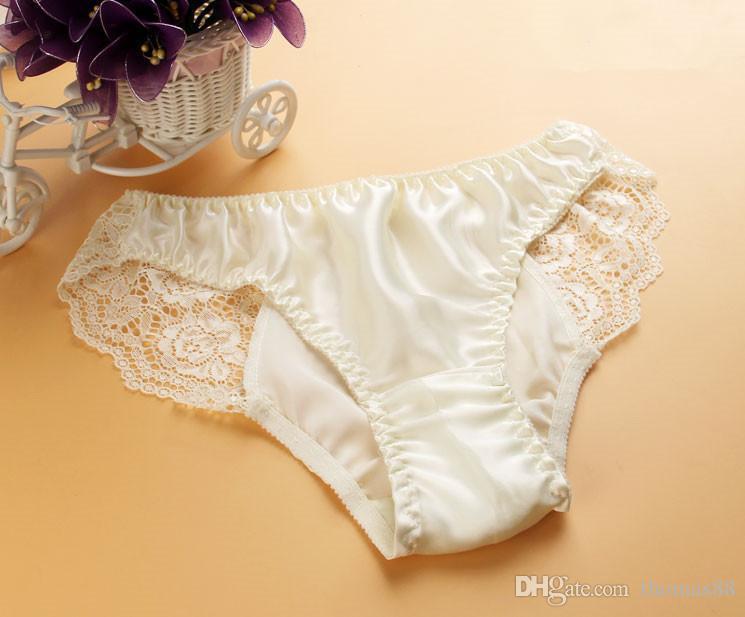 Wholesale Hot Pure Silk Lace Panties Women 100% Mulberry Silk Sexy ... 2e512eb89ea