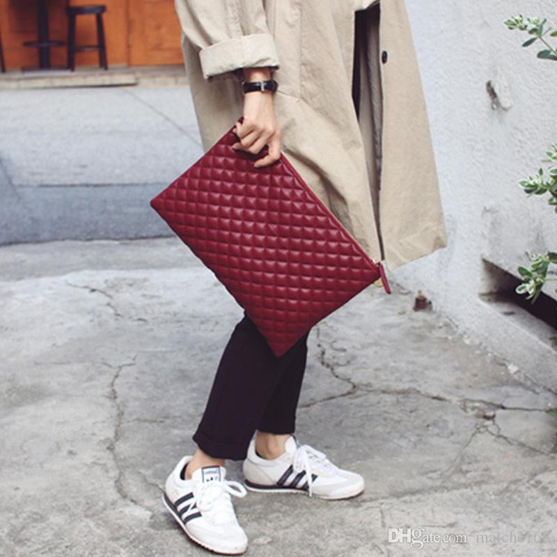 Новый кожаный конверт сумка мода дикий Лин сетки сцепления сумка большой емкости сумки