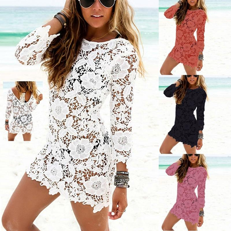 Ehngsong Women Summer Sexy Lace Hollow Knit Dress Crochet Mini Dress