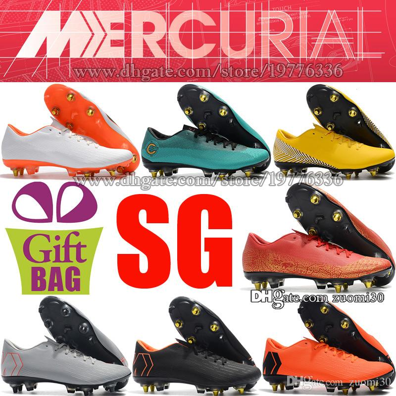 Compre Botines De Fútbol De Spike Para Hombre De Acero Mercurial Vapor XII  Pro CR7 SG Zapatos Soocer Botas De Fútbol Neymar De Cuero Para Exteriores  Gris ... 1f63cf2002023