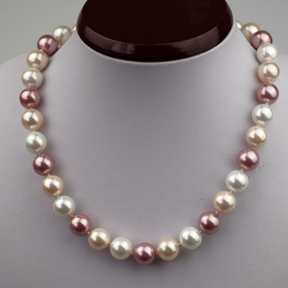Deep Sea Shell Pearls Long Necklaces For Women Multicolor Customizable 8-16mm Simulated Pearl Strand Beads Necklace Jewelry