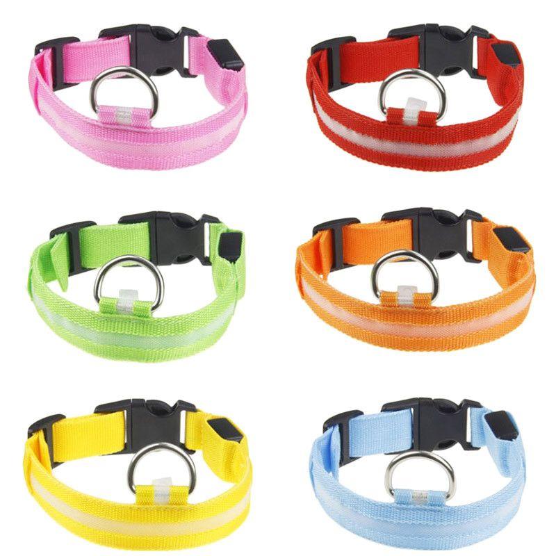 LED Nylon Dog Collar Dog Cat Harness Flashing Light Up Night Safety Pet Collars XS-XL Size Christmas Accessories