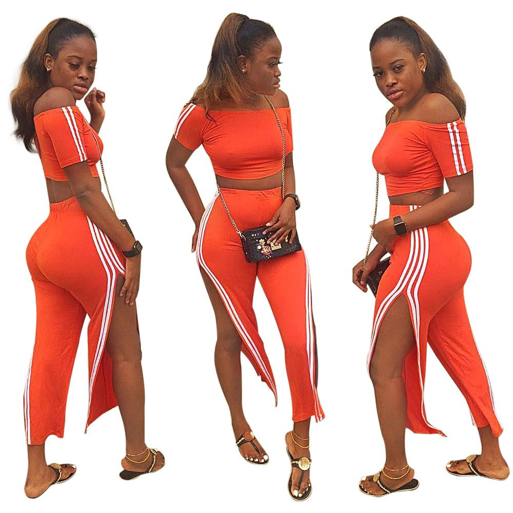 698230770483 Women Short Sleeve Crop Tracksuits Orange Slash Neck Side Stripes ...