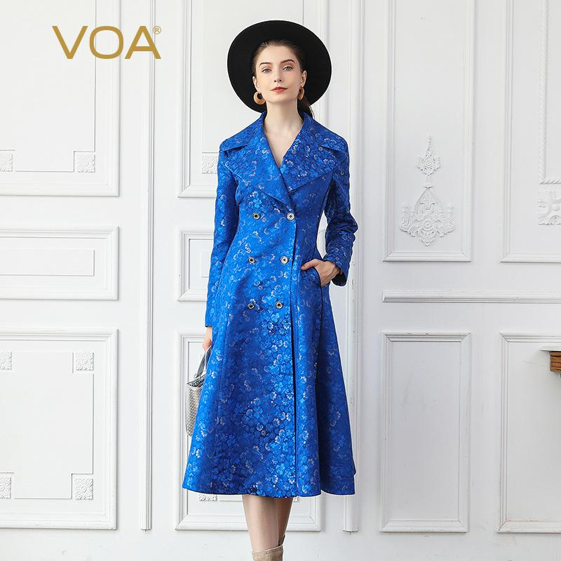 418a7d4f1a 2019 VOA Silk Jacquard Trench Coat Blue Women Tuxedo Ladies Dinner Suit  Tunic Slim Overcoat Autumn Long Sleeve Elegant Rococo F318 From Layette66,  ...