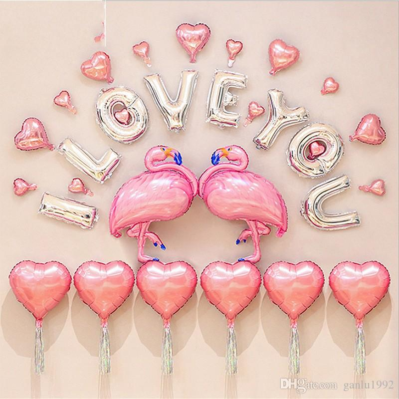 Flamingo Balloon Creative Letter Aluminum Film Romantic Wedding Festival Children Kid Adult Toy Gift Decoration Most Cheap 27gx V
