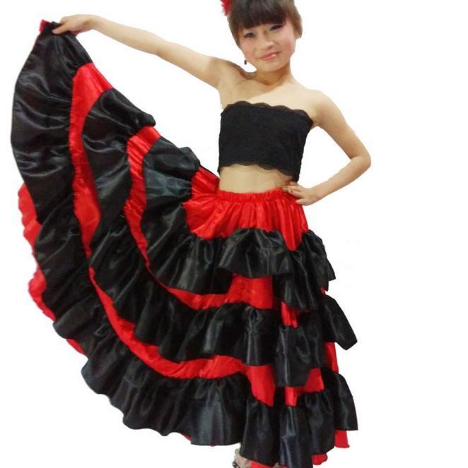 31e1e303329 Acheter Costume Espagnol Fille Long Rouge Style Flamenco Robe Jupe De Salle  De Bal Pour Les Filles Enfant Robes De Danse Noire Costumes Pour Vêtements  Pour ...