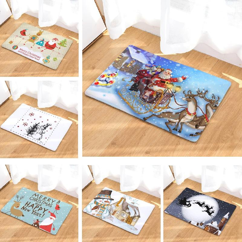 2019 Christmas Bath Mat Printed Suede Carpet Shower Bathroom Mat