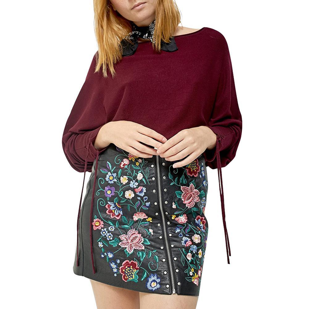 0d8ea72b4 2019 Nuevas Mujeres Atractivas de LA PU Falda de Cuero Bordado Floral  Remache Zip Vintage Ladies Slim Mini Faldas Negro Bodycon Vendaje Falda