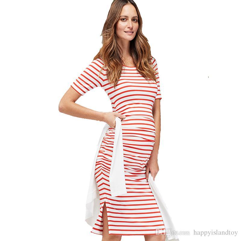 70c547009dc01 Satın Al Ev Tencel Çizgili Hemşirelik Elbise Gebelik Kadınlar Için Kısa  Kollu Hamile Elbisesi Giyim Rahat Gebelik Elbise Yaz, $40.2 | DHgate.Com'da
