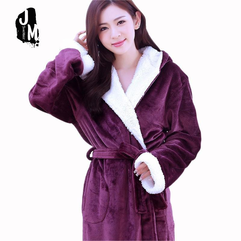 d7e5abc0af 2019 Warm Winter Hooded Bathrobe Woman Cotton Flannel Pyjama Couples  Bathrobes Kimono Dressing Gown Plush Robes XXL C18110301 From Lizhang03