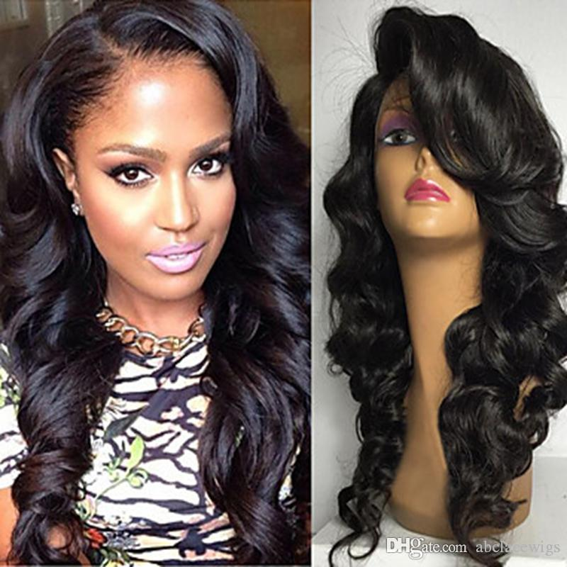6daf567fe9 Natural Hairline Side Parting Body Wave Long Wigs With Bangs Glueless  Brazilian Human Hair Lace Front Wigs For Black Women Heat Resistant Full  Lace Remy ...