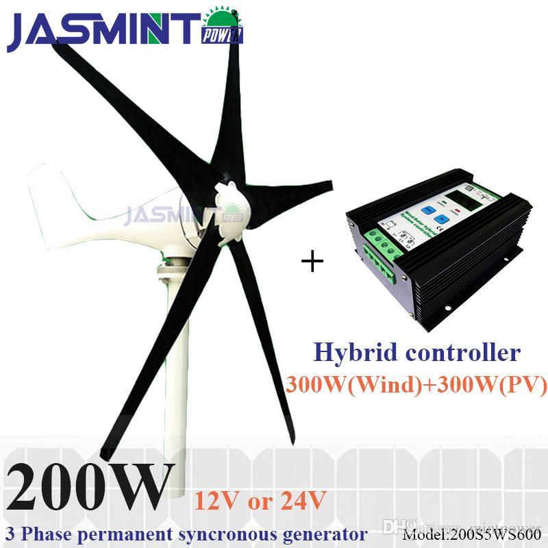 b9d0e81cc0b Compre 200 W Max Power 220 W Pequeno Gerador De Energia Eólica Com 600 W  PWM Vento Solar Controlador De Carga Híbrida Para 300 W Turbina Eólica + 300  W ...