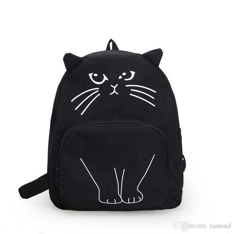 Wholesale Cute Cartoon Cat Printing Backpack The Animal Prints School Bag  For Teenage Girls Personality Whimsy Women S Fashion Leisure Dakine Backpack  Best ... 7d264acd247de