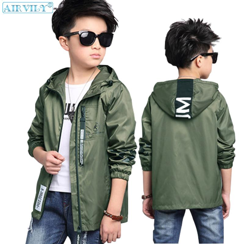 b4b4e0bc7 Boys Hooded Jacket Autumn Windbreaker For Teenage Boy Outerwear ...