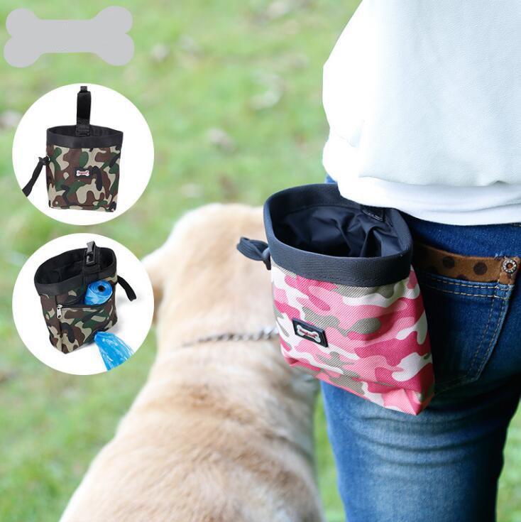 Saco de cintura saco de alimentação do cão Pack - Pet Puppy Pouch Walking Food Treat Snack Bag - Titular de armazenamento de alimentos para animais de estimação