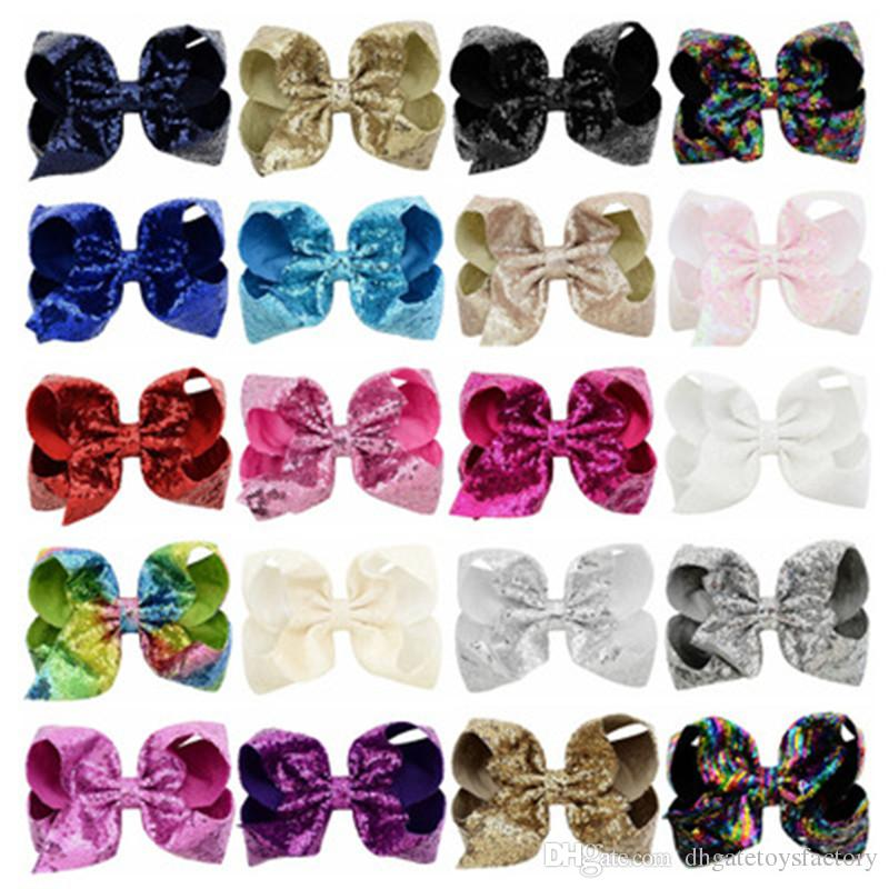 Fashion 8 Inch Sequins Bowknot Baby Girls Hair Clips Hot Sale Elegant Ribbon Bow Hairpin Clip Hair Accessories For Party