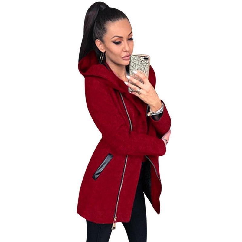 9a69c6e54b4c 2019 Women Autumn Winter Clothes Warm Fleece Collared Coat Slant ...