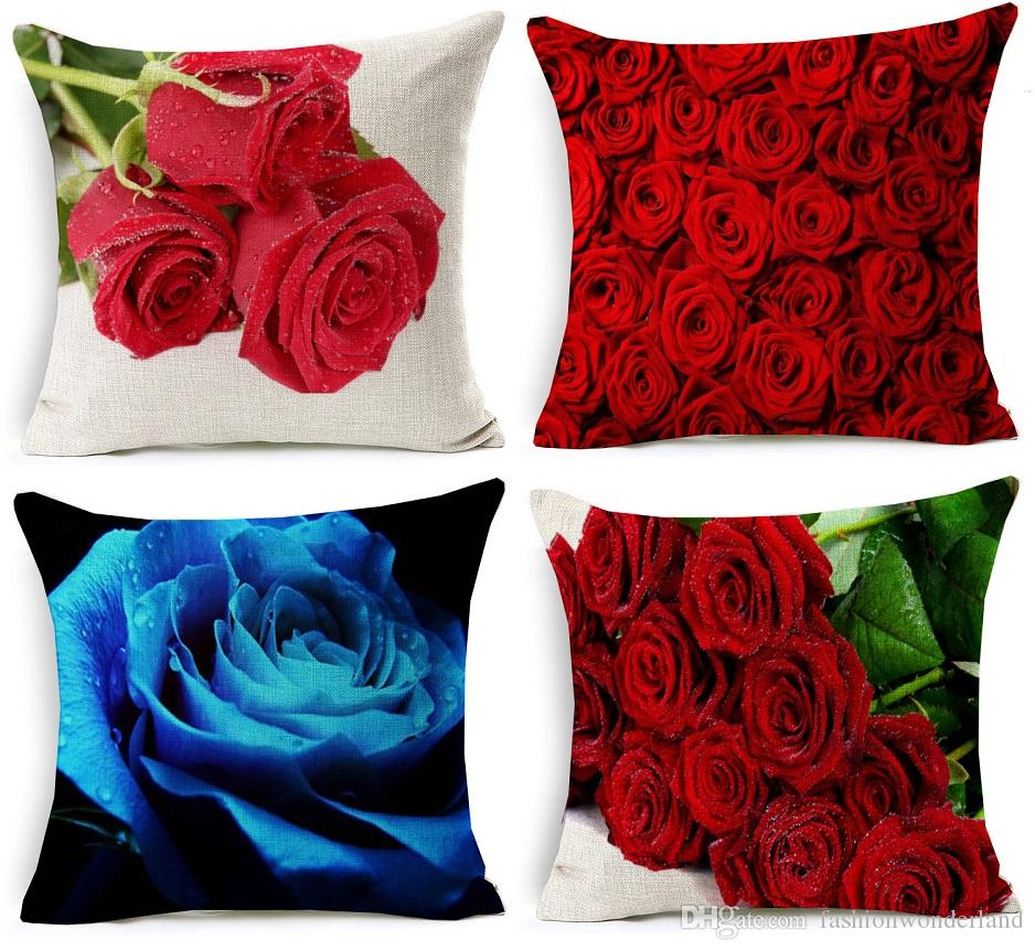3d Effect Red Rose Cushion Cover Beautiful Fresh Roses Floral Pillow Covers  Home Sofa Decorative Linen Pillow Case Bedroom Sofa Decor Replacement Seat  ...