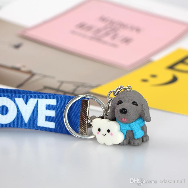 Craetive Cute Pet Dog Coffee Wind Pendant Pvc Key Chain Charms Animal Keyring Cute Key Ring Bag Pendant Backpack Gift D518L