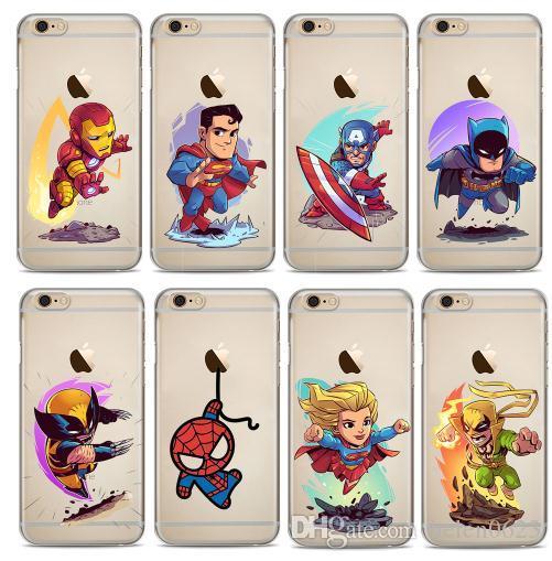 daebe86b6f2 ... Para Teléfono Marvel The Avengers Batman DC Comics Estuche Suave De  Superhéroes Para IPhone Apple IPhone X 7 8 Plus 6 6S 6Plus 5S SE Fundas  Carcasas ...