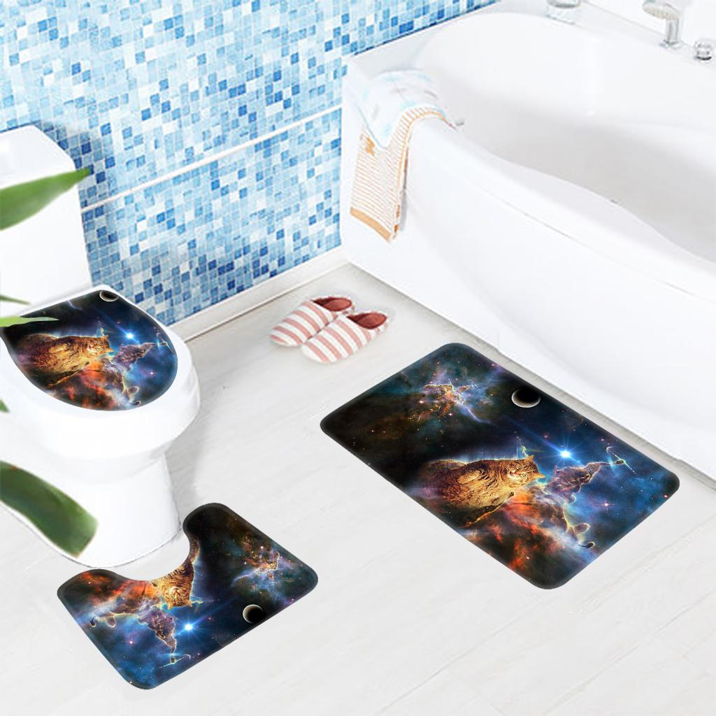 2019 Bath Rug Set Space Cat Pattern Modern Bathroom Mat Non Slip
