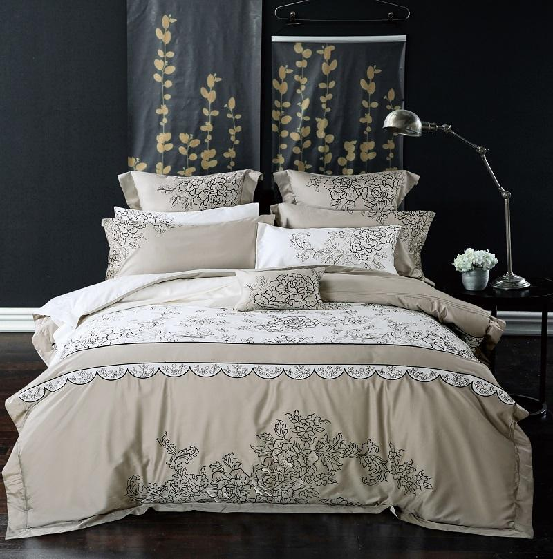 100% Cotton Queen/King Size Embroidery Grey Blue Bedding Set Korean Luxury  Royal Bed Set Duvet Cover Bed Sheet Pillowcases Shop Duvet Covers Duvet  Sets On ...