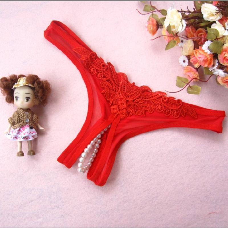 2 قطعة / الوحدة 6 ألوان مثير سراويل داخلية لؤلؤة مفتوحة المنشعب زهرة بيكيني ثونغ سلسلة t- الظهر سراويل ملخصات السيدات النساء الملابس الداخلية