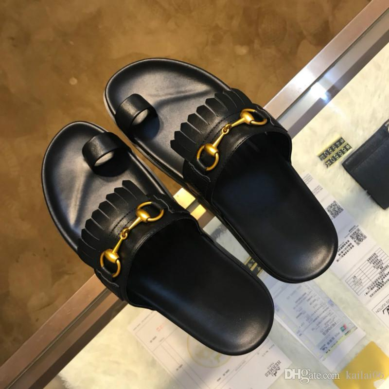 94edc65b82e9 Luxury Men S Sandals High End Quality Slippers Leather Black Fashion  Designer Handmade Shoes Quality Assurance Manufacturers Promotions Wedding  Sandals ...