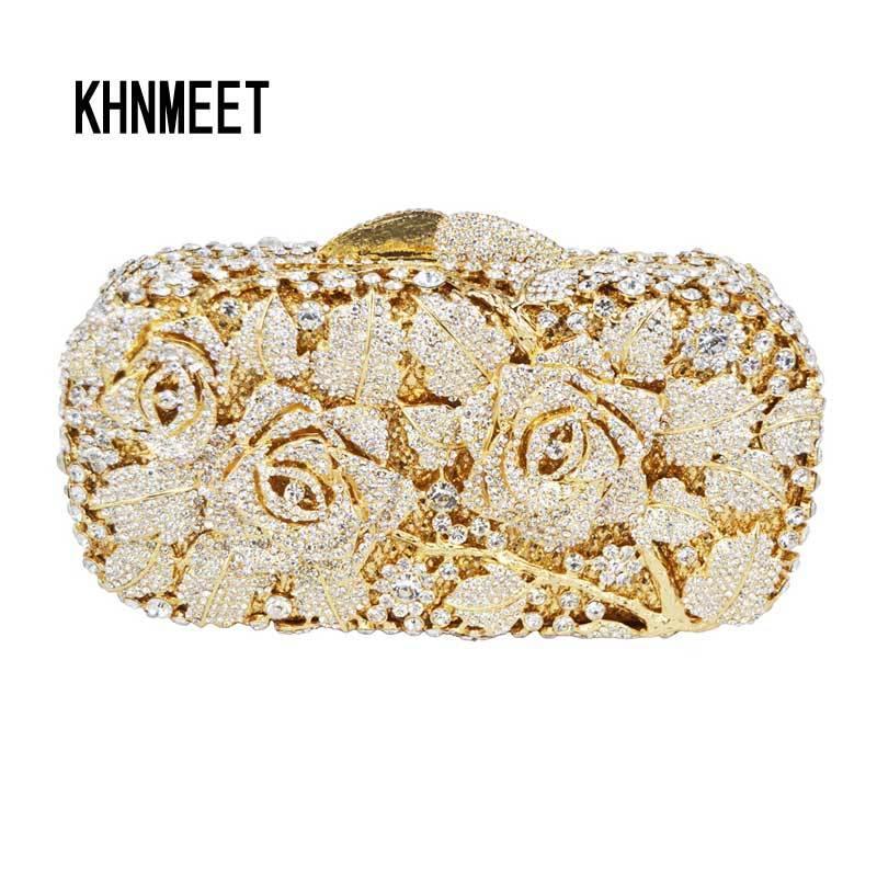 Luxury Crystal Clutch Evening Bag Golden Rose Flower Party Purse Women  Wedding Bridal Handbag Pouch Soiree Pochette Bag SC013 Y18103004 Clutch  Purses White ... 02a1c35661f9