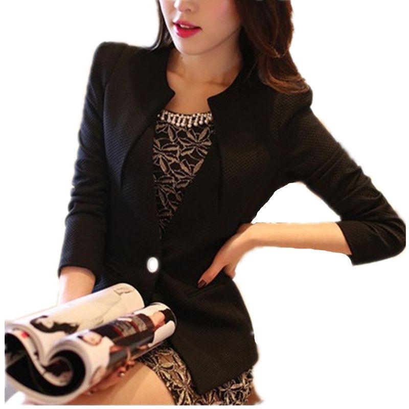 2019 Women Blazer 2018 Summer Long Sleeve Feminina Suit Blazer Female Short Jacket  Ladies White Black One Button Office Blaser From Clothwelldone 19ec14654e29